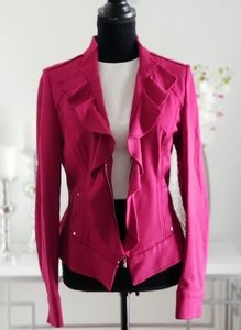 White House Black Market Fuschia Ruffle Jacket
